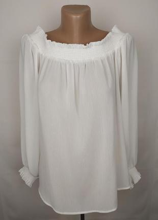 Блуза белая шикарная new look uk 10/38/s