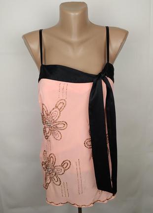 Блуза майка шикарная шелковая с бисером на подкладке 100% шелк...