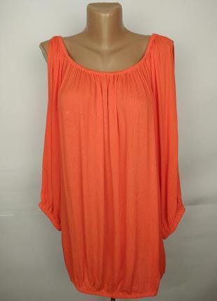 Блуза натуральная красивая помаранчивая большого размера uk 20...