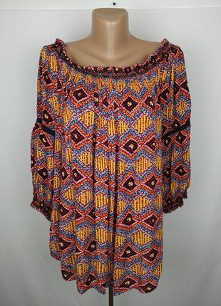 Блуза натуральная стильная в орнамент большого размера uk 18/4...