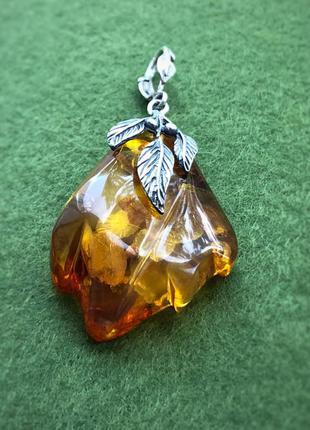 Кулон подвес серебро советский ссср янтарь калининградский