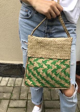 Соломенная,плетёная сумка ручной работы,эксклюзив,на одно плеч...