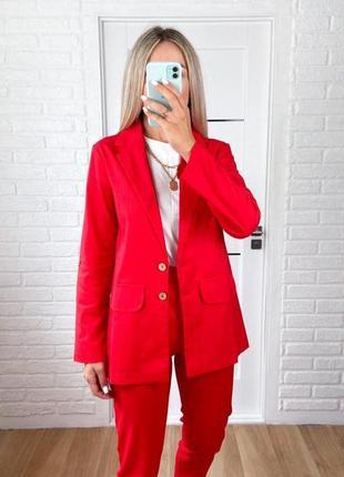 Жіночий лляний брючний костюм двійка піджак жакет + штани брюки