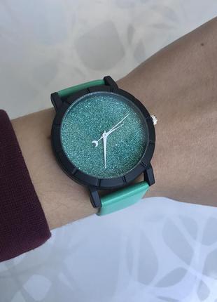 Женские блестящие зеленые наручные часы звездное небо
