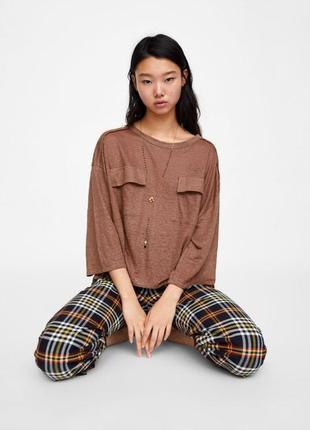 Zara 2019 кофта свитшот оверсайз лен м l 14 48