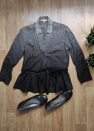 M/ крутая блуза рубашка в горошек классика шелк длинный рукав
