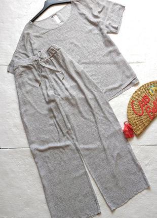 Летний брючный костюм из натуральной ткани
