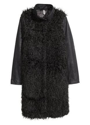 В наличии - меховое пальто с кожаными рукавами *h&m* 6/36 р.