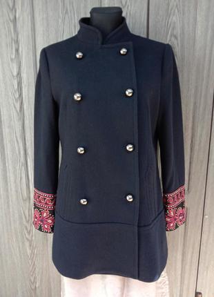 Друбортное пальто nenette италия шерсть воротник стойка