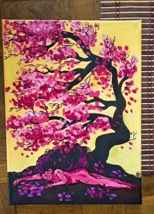 Картина Акрил 39*29, ручная работа, Сакура