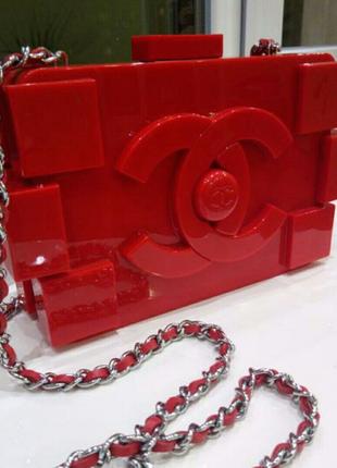 Сумка в стиле Chanel Шанель клатч на цепочке пластик плексиглас