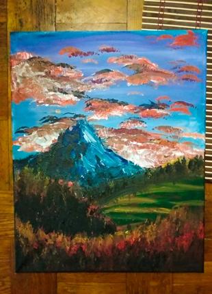 "Картина акрилом пейзаж ""Гора"" 49*39 живопись"