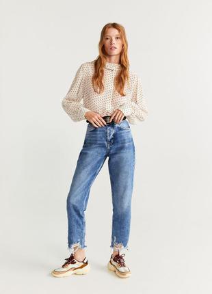 Мам джинсы mango момы драные джинсы с высокой талией свободные...