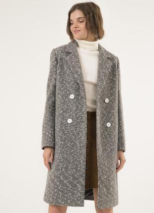 Стильное шерстяное пальто season перис светло-серое