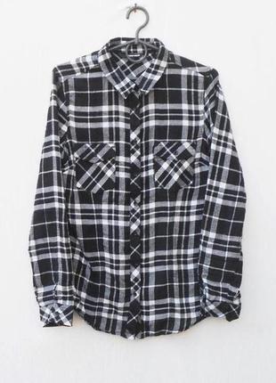 Фланелевая хлопковая рубашка в клетку с длинным рукавом