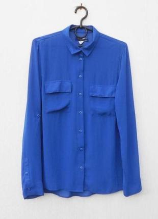 Летняя шифоновая  блузка рубашка с воротником с длинным рукавом 🌿