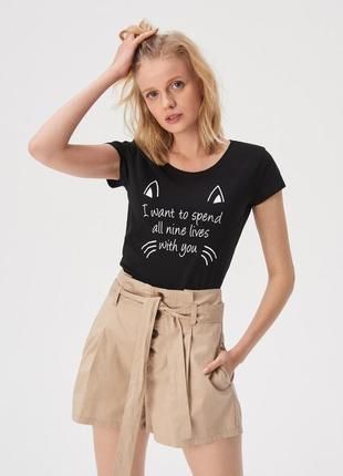 Новая черная футболка sinsay принт кот кошка 9 жизней xs s m l xl