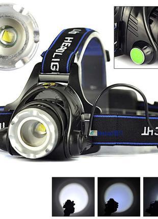 Фонарь налобный светодиодный T6 LED под аккумулятор 18650 фонарик