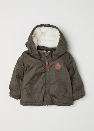 Куртка на ворсистой подкладке h&m 80
