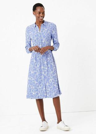 Небесно-голубое платье-рубашка миди из вискозы  marks & spencer