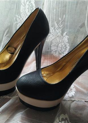 Черные туфли на высоком каблуке atmosphere 👠 ❗ распродажа❗