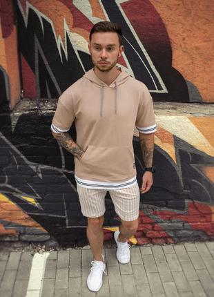 Комплект худи лето + шорты бежевого цвета