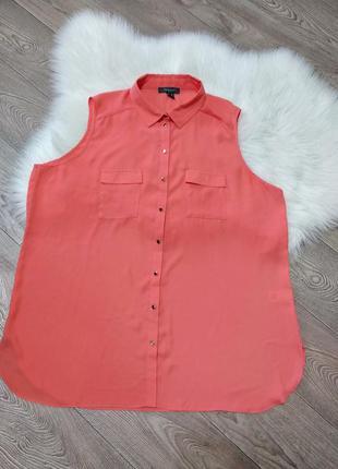 Лёгкая шифоновая блузка блуза рубашка без рукавов безрукавка л...
