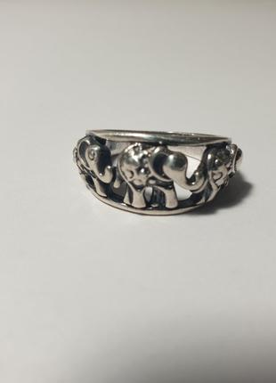 Серебряное кольцо слоны 925 пробы