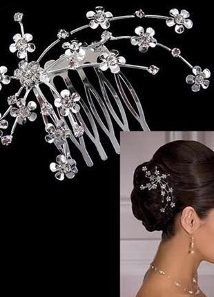 Красивая заколка веточка гребень для волос