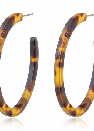 Серьги кольца акрил, леопардовый принт