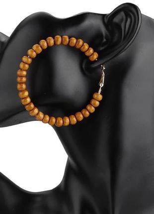 Серьги кольца с бусинами бохо стиль