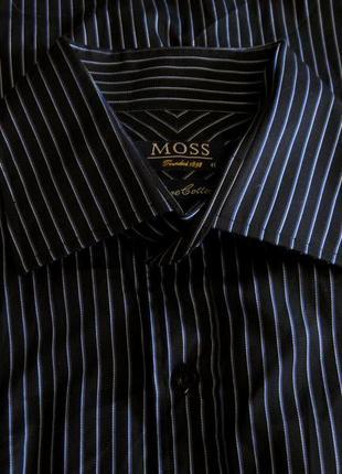 Рубашка мужская moss чёрная тёмная синяя в полоску