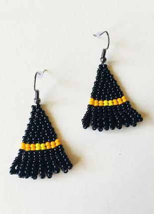Бисерные серьги шляпа ведьмы с оранжевой лентой, черные серьги...