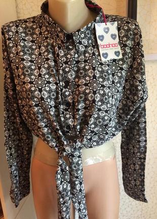 Стильная рубашка топ с завязкой натуральная ткань