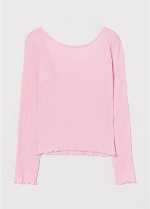 Нежно-розовый топ h&m длинный рукав в рубчик девочкам 10-12 лет