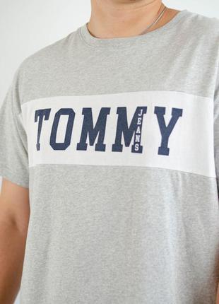 Tommy hilfiger серая брендовая хлопковая футболка с логотипом,...