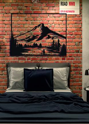 Деревянная картина лофт,панно Гора,настенный декор