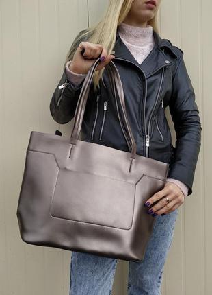 Шикарная большая сумка из натуральной кожи