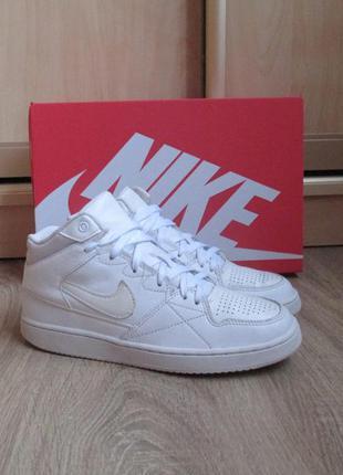 Женские кроссовки nike priority белые,кожаные,хайтопы,осенние