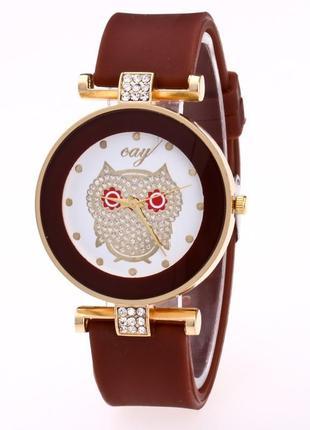 Женские часы сова с силиконовым ремешком шоколад