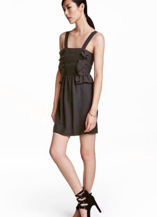 Черное платье сарафан с оборками лиоцелл H&M