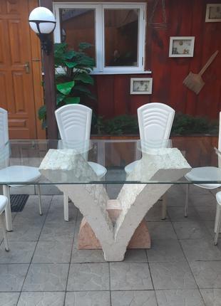 Стол обеденный каменный со стульями