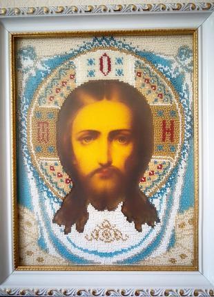 Икона бисером Спас Нерукотворный бисером