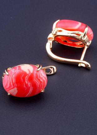 Серьги женские позолоченные с натуральным камнем сардоникс роз...