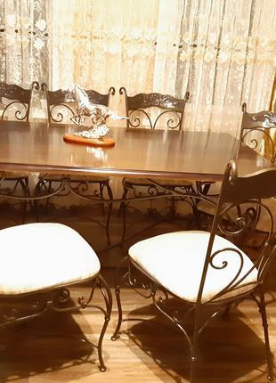 Стол обеденный кованый с коваными стульями