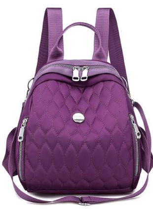 Рюкзак, городской рюкзак, фиолетовый. модные узоры.