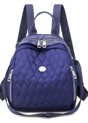 Рюкзак, городской рюкзак, синий. модные узоры.