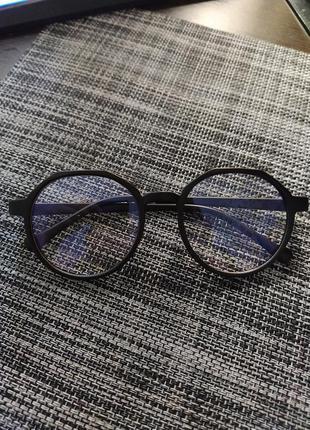 Очки имиджевые черные матовые круглые унисекс