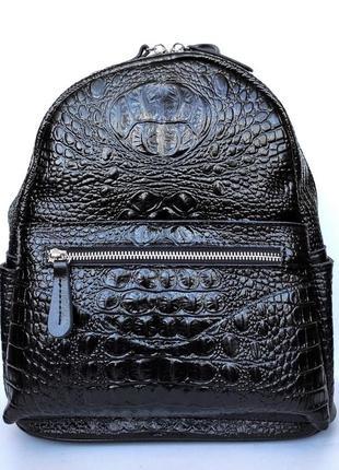 """Женский кожаный рюкзак """"crocodile"""" черный"""