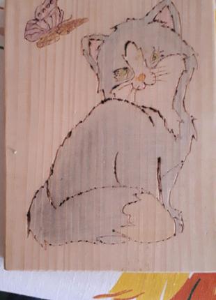 Продам две картины кошка и собака. Ручная работа